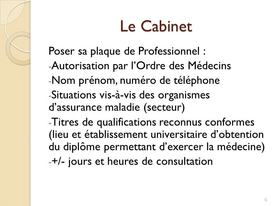 Le Cabinet Poser sa plaque de Professionnel : - Autorisation par l'Ordre des Médecins - Nom prénom, numéro de téléphone - Situations vis-à-vis des org