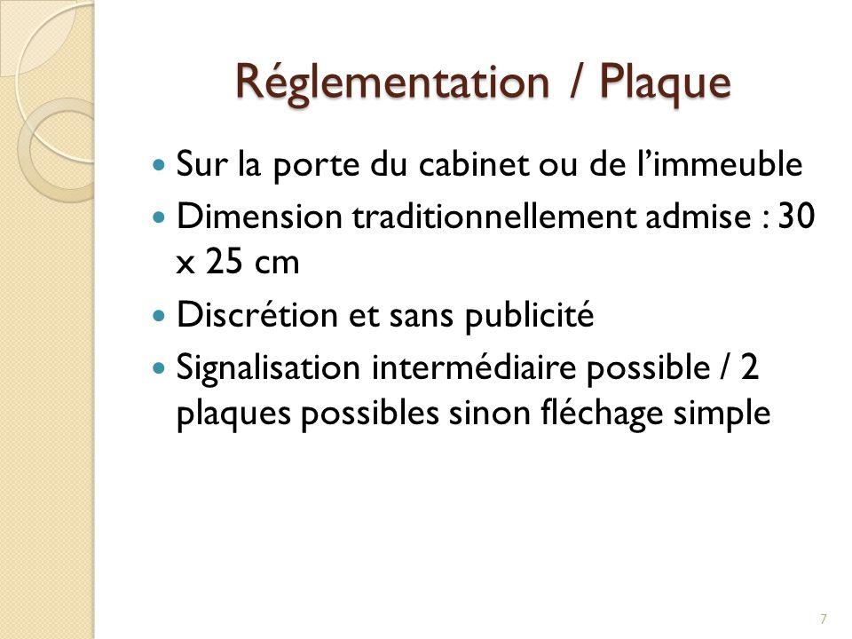 Réglementation / Plaque Sur la porte du cabinet ou de l'immeuble Dimension traditionnellement admise : 30 x 25 cm Discrétion et sans publicité Signali