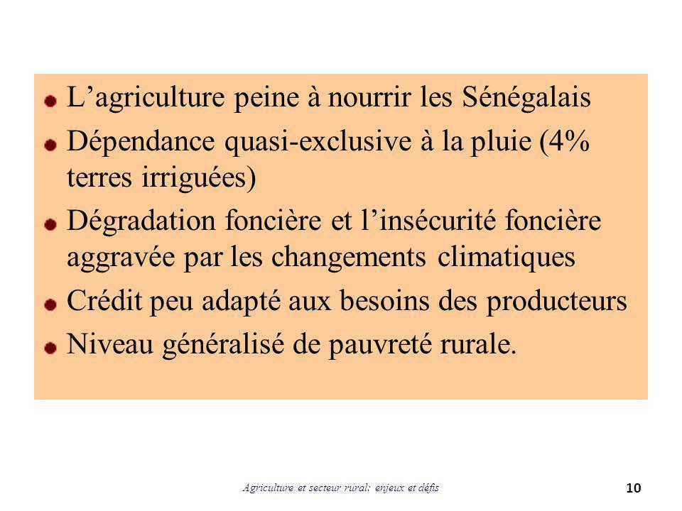 L'agriculture peine à nourrir les Sénégalais Dépendance quasi-exclusive à la pluie (4% terres irriguées) Dégradation foncière et l'insécurité foncière aggravée par les changements climatiques Crédit peu adapté aux besoins des producteurs Niveau généralisé de pauvreté rurale.