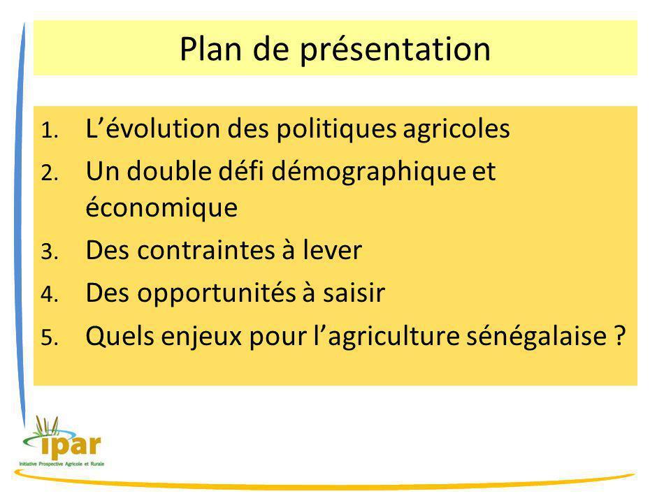 Plan de présentation 1.L'évolution des politiques agricoles 2.