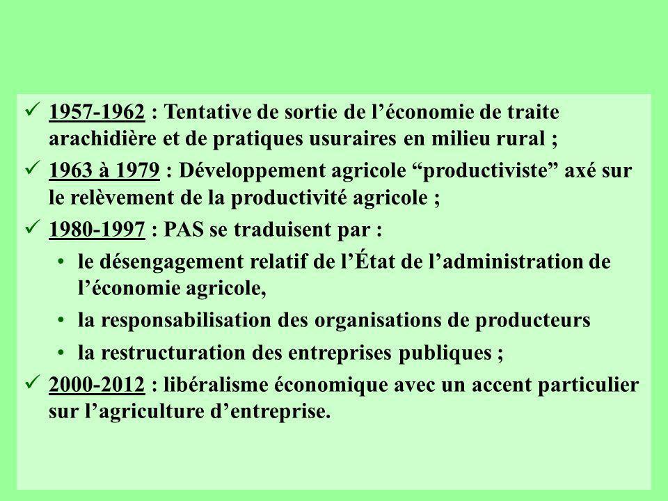 1957-1962 : Tentative de sortie de l'économie de traite arachidière et de pratiques usuraires en milieu rural ; 1963 à 1979 : Développement agricole productiviste axé sur le relèvement de la productivité agricole ; 1980-1997 : PAS se traduisent par : le désengagement relatif de l'État de l'administration de l'économie agricole, la responsabilisation des organisations de producteurs la restructuration des entreprises publiques ; 2000-2012 : libéralisme économique avec un accent particulier sur l'agriculture d'entreprise.