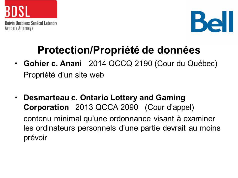 Protection/Propriété de données Gohier c.