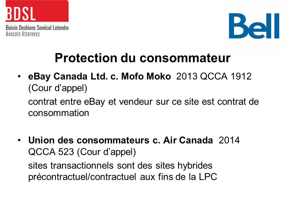 Protection du consommateur eBay Canada Ltd. c.