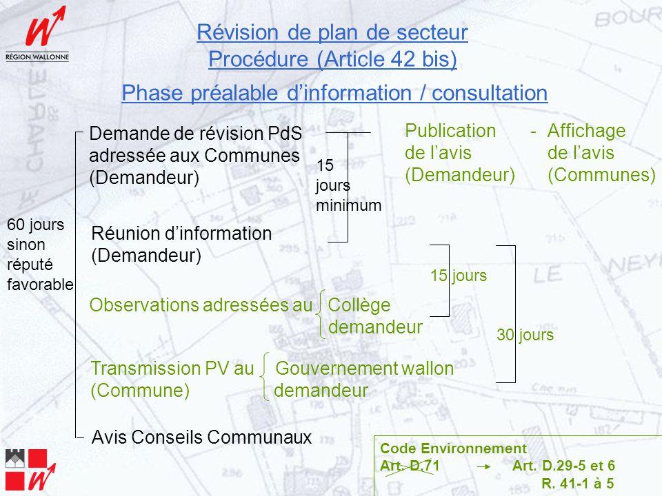 Révision de plan de secteur Procédure (Article 42 bis) Phase préalable d'information / consultation Code Environnement Art.