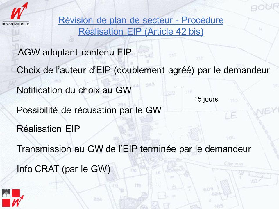 Révision de plan de secteur - Procédure Réalisation EIP (Article 42 bis) Choix de l'auteur d'EIP (doublement agréé) par le demandeur Notification du choix au GW Possibilité de récusation par le GW 15 jours AGW adoptant contenu EIP Réalisation EIP Transmission au GW de l'EIP terminée par le demandeur Info CRAT (par le GW)