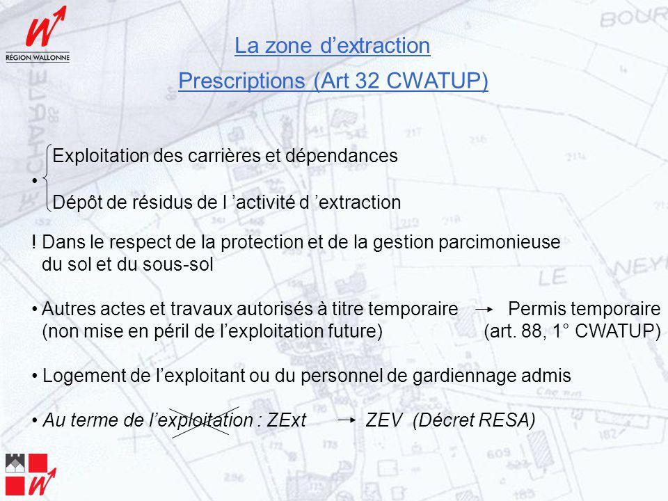 La zone d'extraction Prescriptions (Art 32 CWATUP) Exploitation des carrières et dépendances Dépôt de résidus de l 'activité d 'extraction .