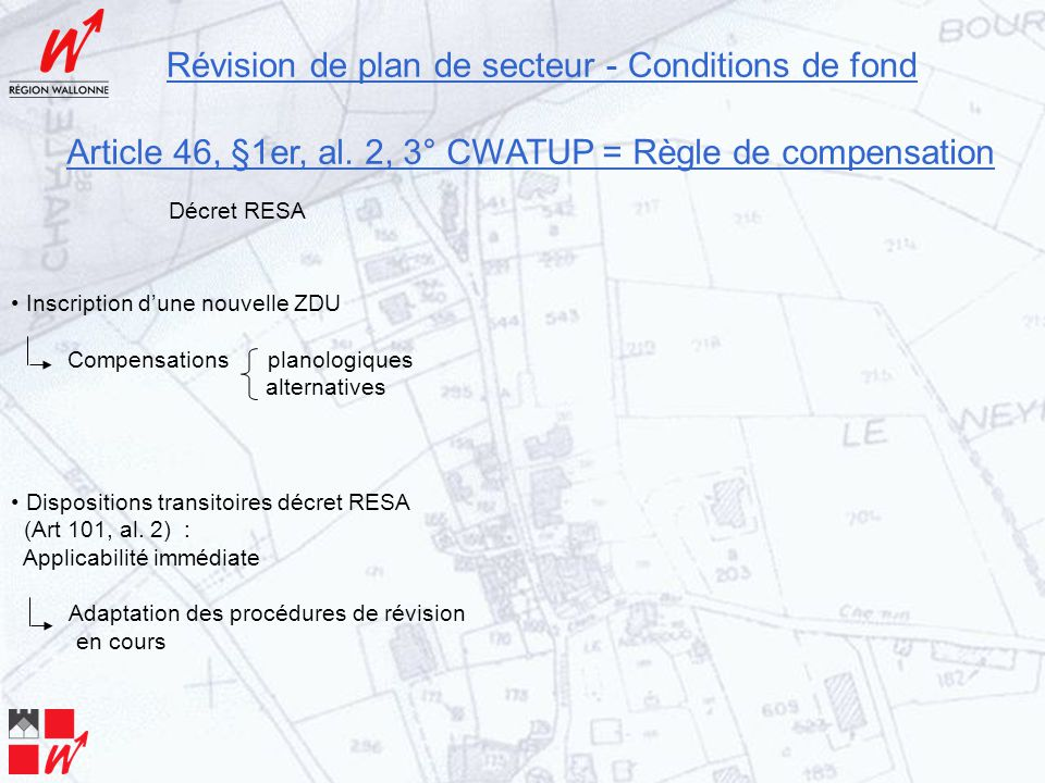 Révision de plan de secteur - Conditions de fond Article 46, §1er, al. 2, 3° CWATUP = Règle de compensation Inscription d'une nouvelle ZDU Compensatio