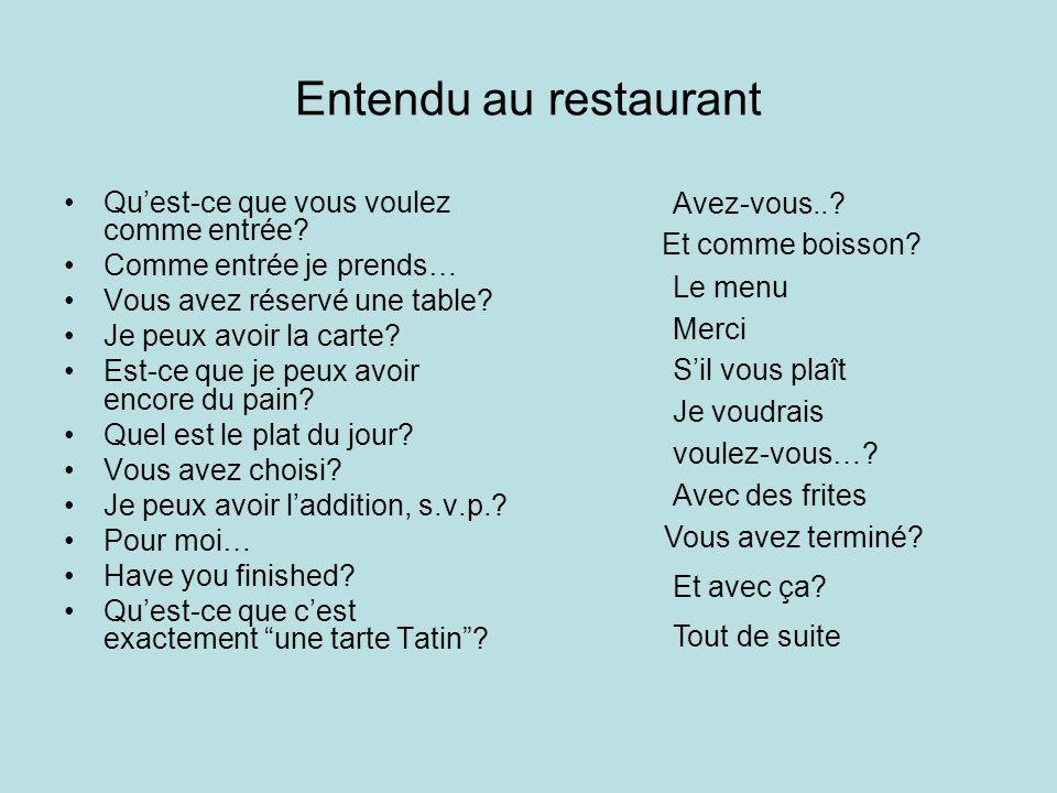 Entendu au restaurant Qu'est-ce que vous voulez comme entrée? Comme entrée je prends… Vous avez réservé une table? Je peux avoir la carte? Est-ce que