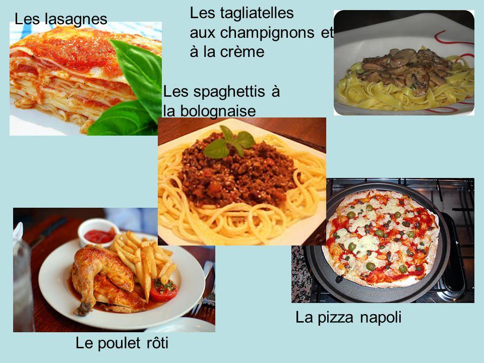 Les lasagnes Les spaghettis à la bolognaise Les tagliatelles aux champignons et à la crème La pizza napoli Le poulet rôti
