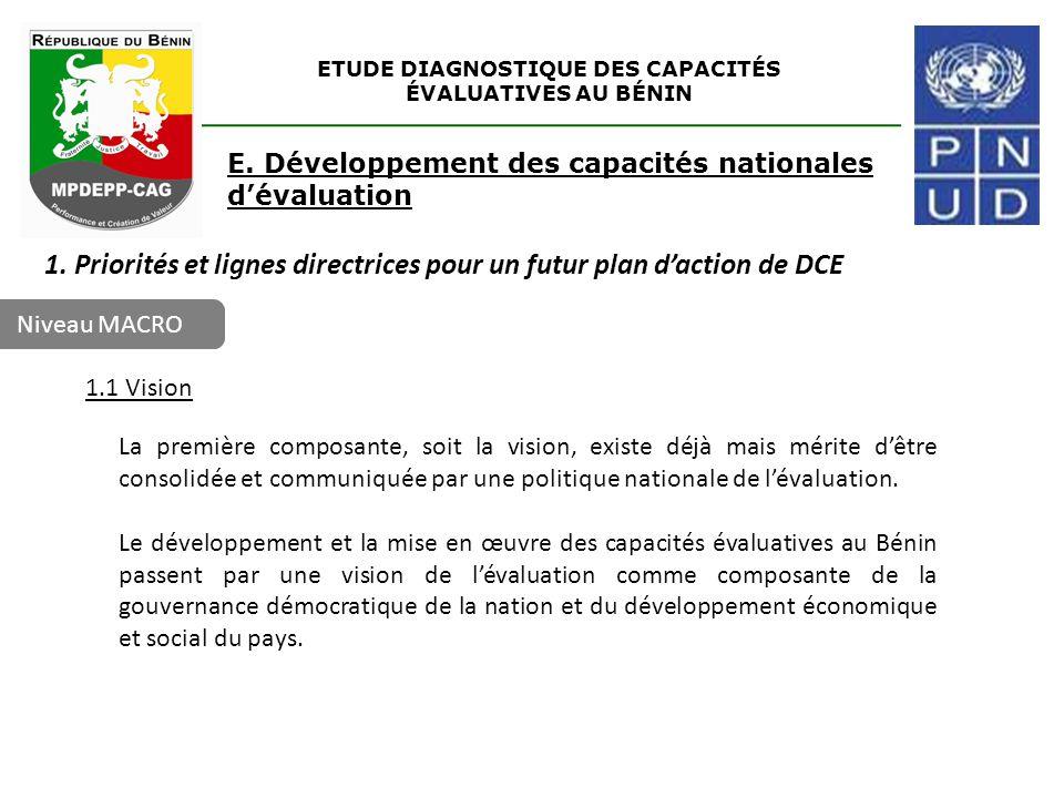 Niveau MACRO ETUDE DIAGNOSTIQUE DES CAPACITÉS ÉVALUATIVES AU BÉNIN E. Développement des capacités nationales d'évaluation 1. Priorités et lignes direc