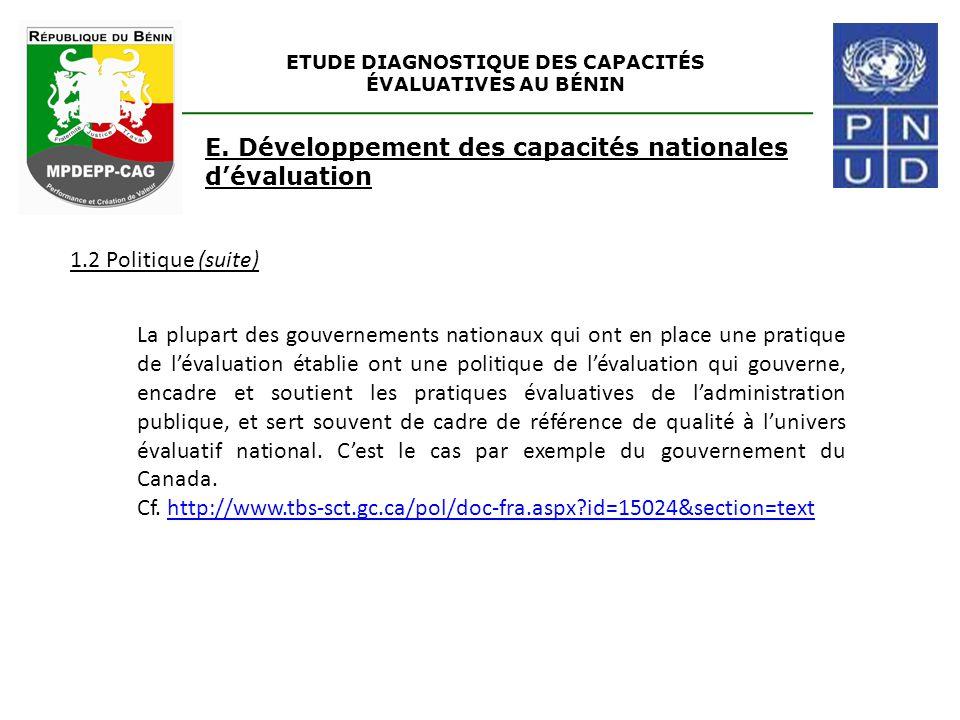 ETUDE DIAGNOSTIQUE DES CAPACITÉS ÉVALUATIVES AU BÉNIN 1.2 Politique (suite) E. Développement des capacités nationales d'évaluation La plupart des gouv