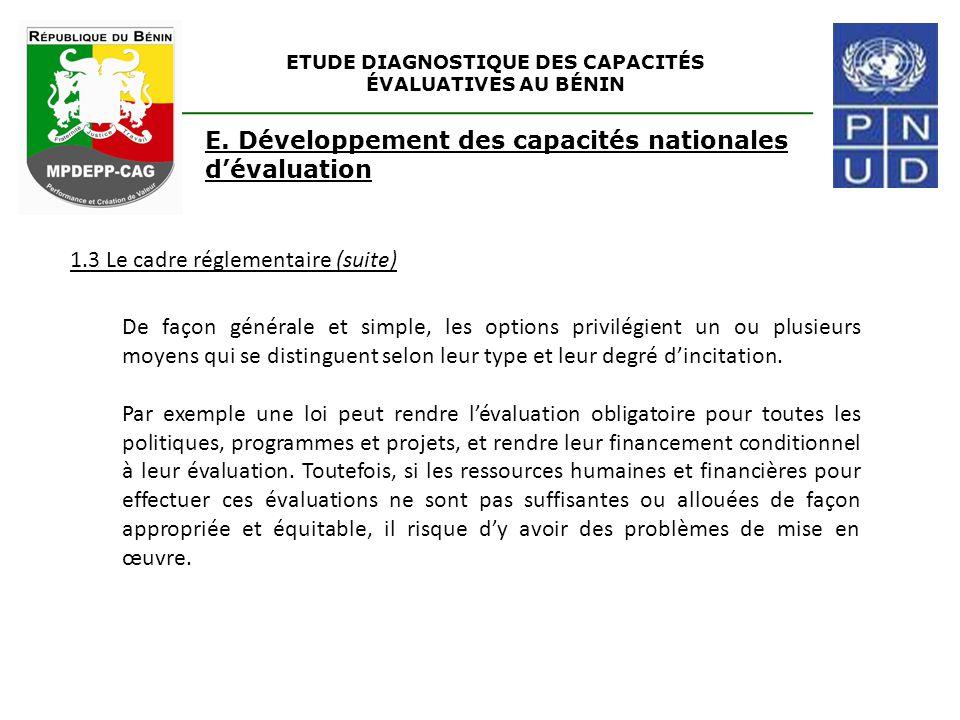 ETUDE DIAGNOSTIQUE DES CAPACITÉS ÉVALUATIVES AU BÉNIN E. Développement des capacités nationales d'évaluation 1.3 Le cadre réglementaire (suite) De faç