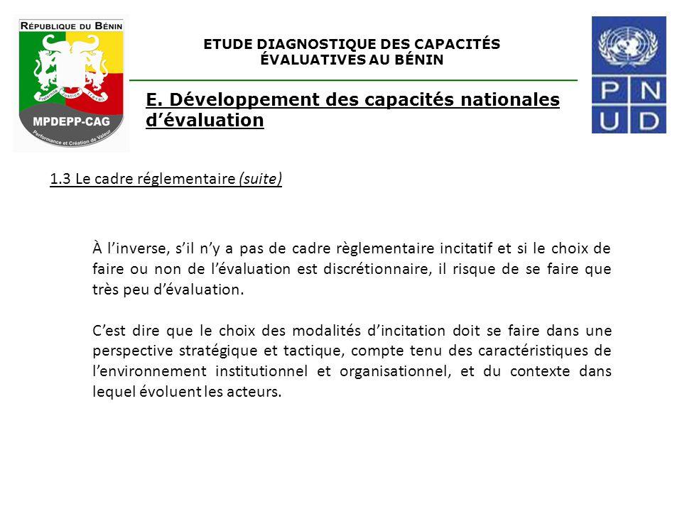 ETUDE DIAGNOSTIQUE DES CAPACITÉS ÉVALUATIVES AU BÉNIN E. Développement des capacités nationales d'évaluation 1.3 Le cadre réglementaire (suite) À l'in