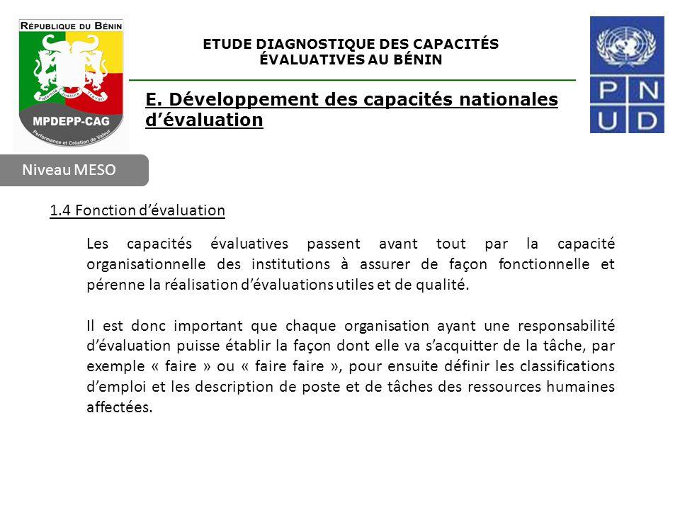 ETUDE DIAGNOSTIQUE DES CAPACITÉS ÉVALUATIVES AU BÉNIN Niveau MESO E. Développement des capacités nationales d'évaluation 1.4 Fonction d'évaluation Les