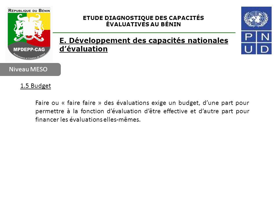 ETUDE DIAGNOSTIQUE DES CAPACITÉS ÉVALUATIVES AU BÉNIN Niveau MESO E. Développement des capacités nationales d'évaluation 1.5 Budget Faire ou « faire f