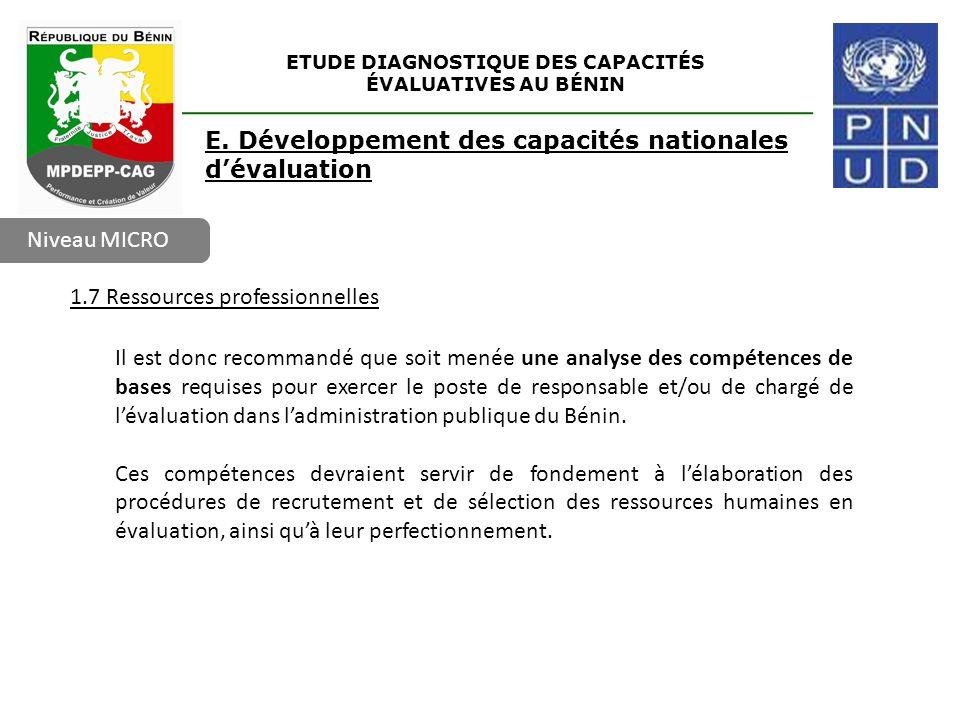 ETUDE DIAGNOSTIQUE DES CAPACITÉS ÉVALUATIVES AU BÉNIN Niveau MICRO E. Développement des capacités nationales d'évaluation 1.7 Ressources professionnel