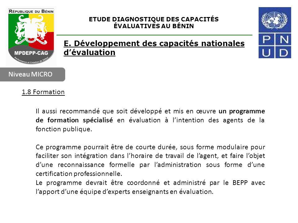 ETUDE DIAGNOSTIQUE DES CAPACITÉS ÉVALUATIVES AU BÉNIN Niveau MICRO E. Développement des capacités nationales d'évaluation 1.8 Formation Il aussi recom