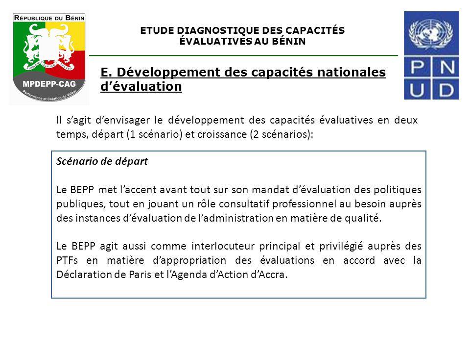 ETUDE DIAGNOSTIQUE DES CAPACITÉS ÉVALUATIVES AU BÉNIN E. Développement des capacités nationales d'évaluation Scénario de départ Le BEPP met l'accent a