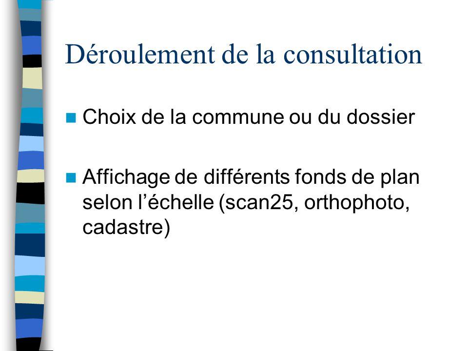 Déroulement de la consultation Choix de la commune ou du dossier Affichage de différents fonds de plan selon l'échelle (scan25, orthophoto, cadastre)