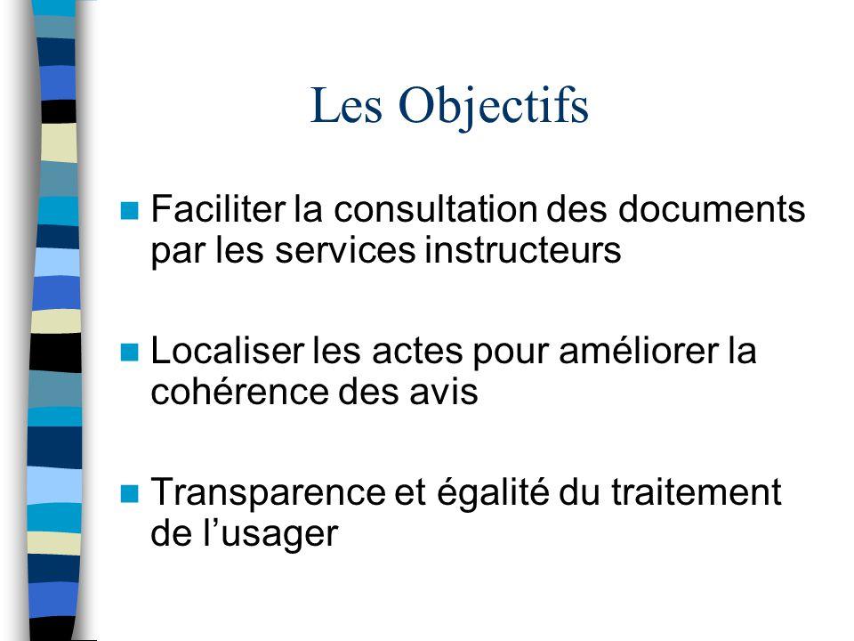 Les Objectifs Faciliter la consultation des documents par les services instructeurs Localiser les actes pour améliorer la cohérence des avis Transpare
