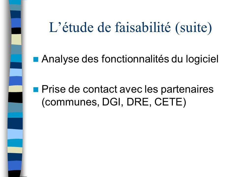 L'étude de faisabilité (suite) Analyse des fonctionnalités du logiciel Prise de contact avec les partenaires (communes, DGI, DRE, CETE)