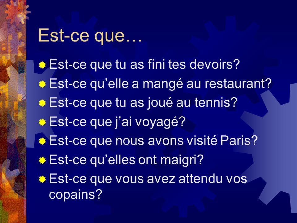 Est-ce que…  Est-ce que tu as fini tes devoirs?  Est-ce qu'elle a mangé au restaurant?  Est-ce que tu as joué au tennis?  Est-ce que j'ai voyagé?
