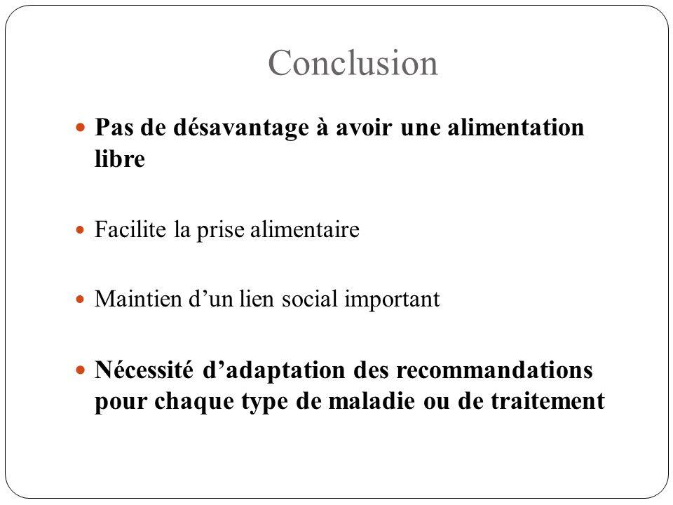 Conclusion Pas de désavantage à avoir une alimentation libre Facilite la prise alimentaire Maintien d'un lien social important Nécessité d'adaptation