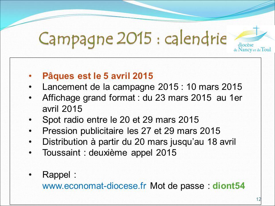 12 Pâques est le 5 avril 2015 Lancement de la campagne 2015 : 10 mars 2015 Affichage grand format : du 23 mars 2015 au 1er avril 2015 Spot radio entre le 20 et 29 mars 2015 Pression publicitaire les 27 et 29 mars 2015 Distribution à partir du 20 mars jusqu'au 18 avril Toussaint : deuxième appel 2015 Rappel : www.economat-diocese.fr Mot de passe : diont54