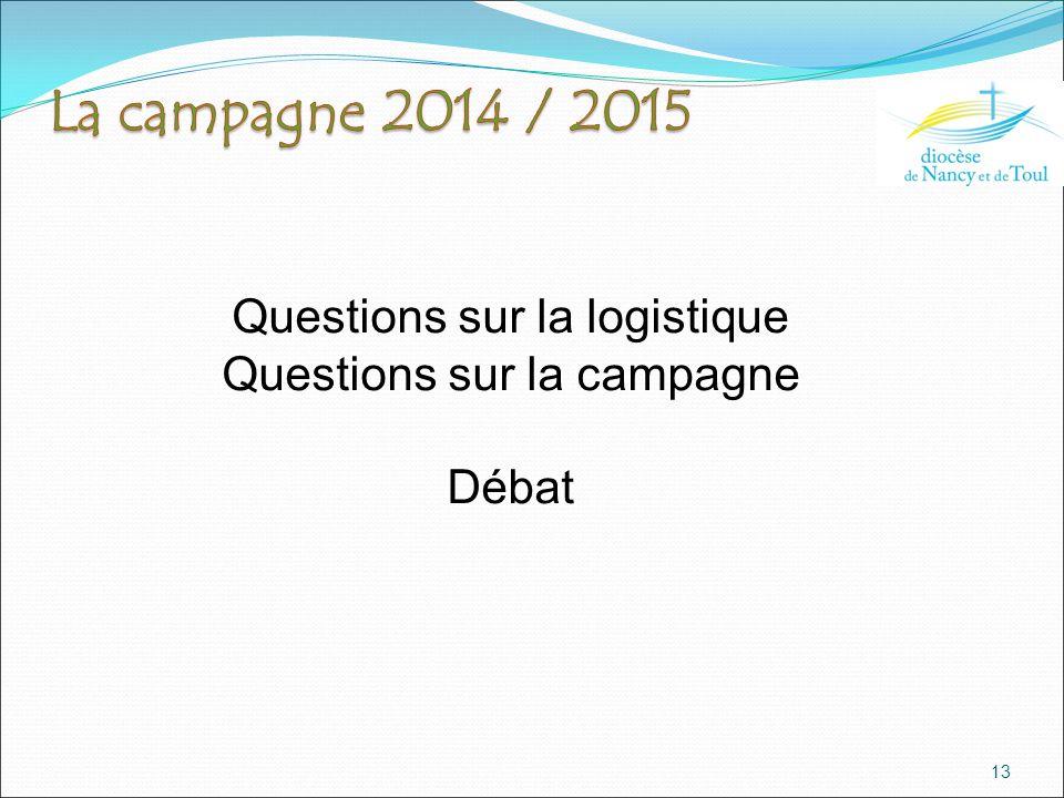 13 Questions sur la logistique Questions sur la campagne Débat
