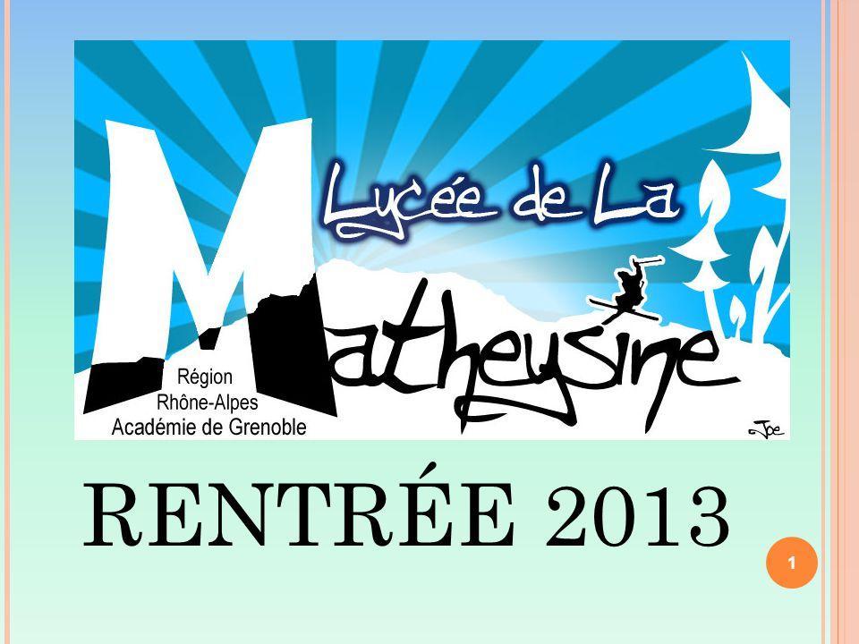 RENTRÉE 2013 1