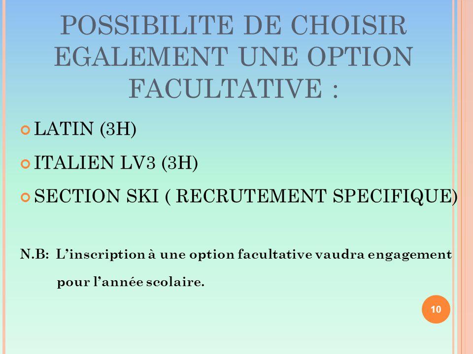 POSSIBILITE DE CHOISIR EGALEMENT UNE OPTION FACULTATIVE : LATIN (3H) ITALIEN LV3 (3H) SECTION SKI ( RECRUTEMENT SPECIFIQUE) N.B: L'inscription à une option facultative vaudra engagement pour l'année scolaire.