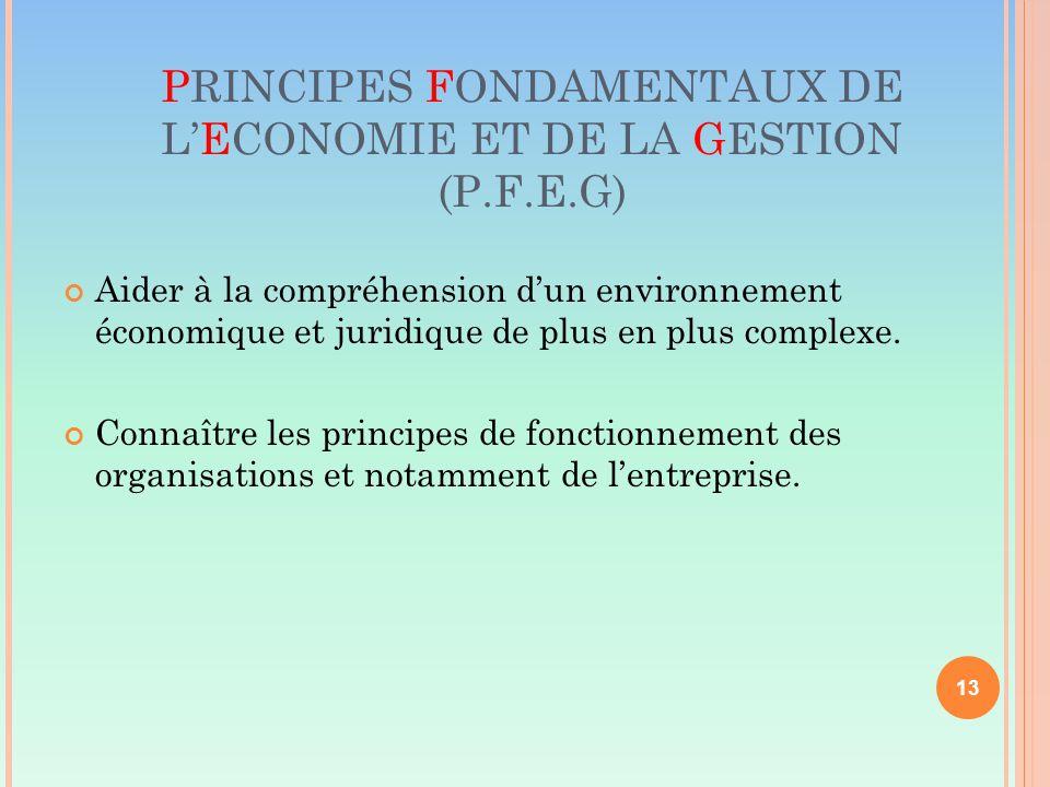PRINCIPES FONDAMENTAUX DE L'ECONOMIE ET DE LA GESTION (P.F.E.G) Aider à la compréhension d'un environnement économique et juridique de plus en plus complexe.