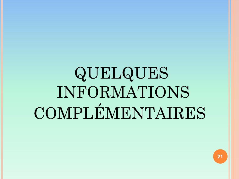 QUELQUES INFORMATIONS COMPLÉMENTAIRES 21