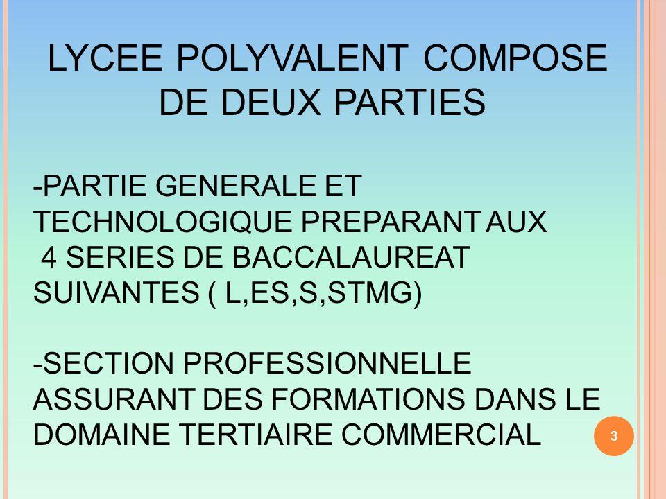 LYCEE POLYVALENT COMPOSE DE DEUX PARTIES -PARTIE GENERALE ET TECHNOLOGIQUE PREPARANT AUX 4 SERIES DE BACCALAUREAT SUIVANTES ( L,ES,S,STMG) -SECTION PROFESSIONNELLE ASSURANT DES FORMATIONS DANS LE DOMAINE TERTIAIRE COMMERCIAL 3
