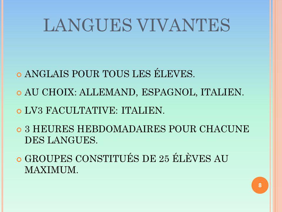 LANGUES VIVANTES ANGLAIS POUR TOUS LES ÉLEVES. AU CHOIX: ALLEMAND, ESPAGNOL, ITALIEN.