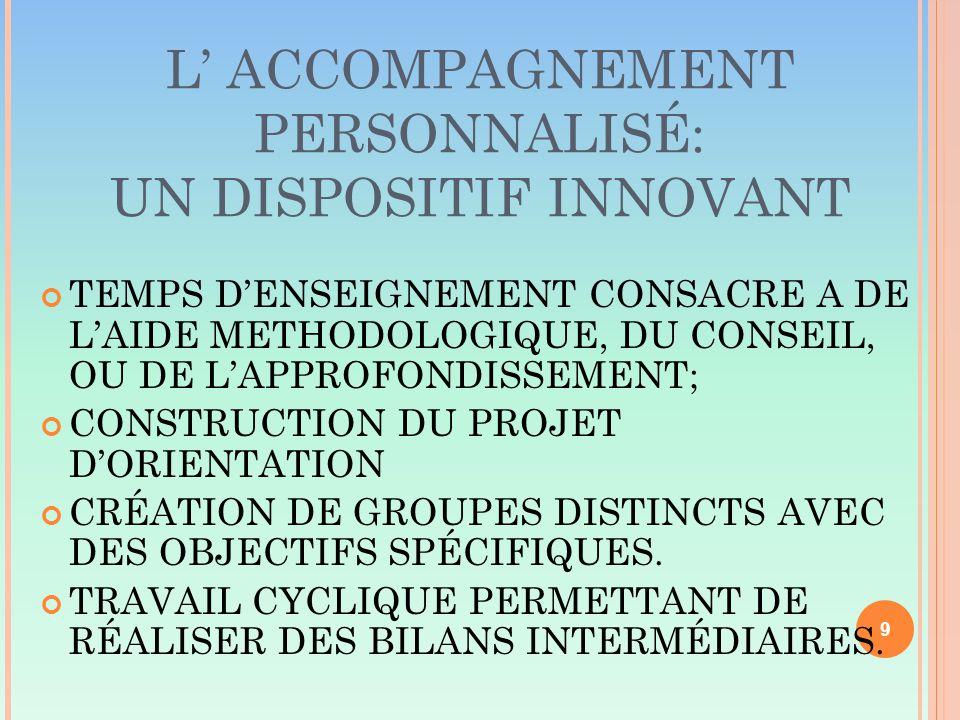 L' ACCOMPAGNEMENT PERSONNALISÉ: UN DISPOSITIF INNOVANT TEMPS D'ENSEIGNEMENT CONSACRE A DE L'AIDE METHODOLOGIQUE, DU CONSEIL, OU DE L'APPROFONDISSEMENT; CONSTRUCTION DU PROJET D'ORIENTATION CRÉATION DE GROUPES DISTINCTS AVEC DES OBJECTIFS SPÉCIFIQUES.