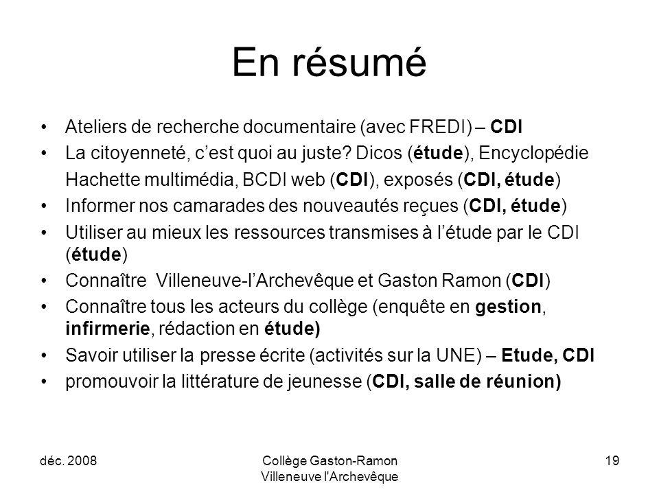 déc. 2008Collège Gaston-Ramon Villeneuve l'Archevêque 19 En résumé Ateliers de recherche documentaire (avec FREDI) – CDI La citoyenneté, c'est quoi au