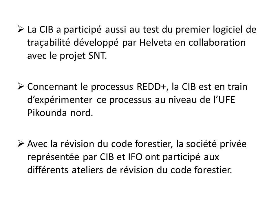  La CIB a participé aussi au test du premier logiciel de traçabilité développé par Helveta en collaboration avec le projet SNT.