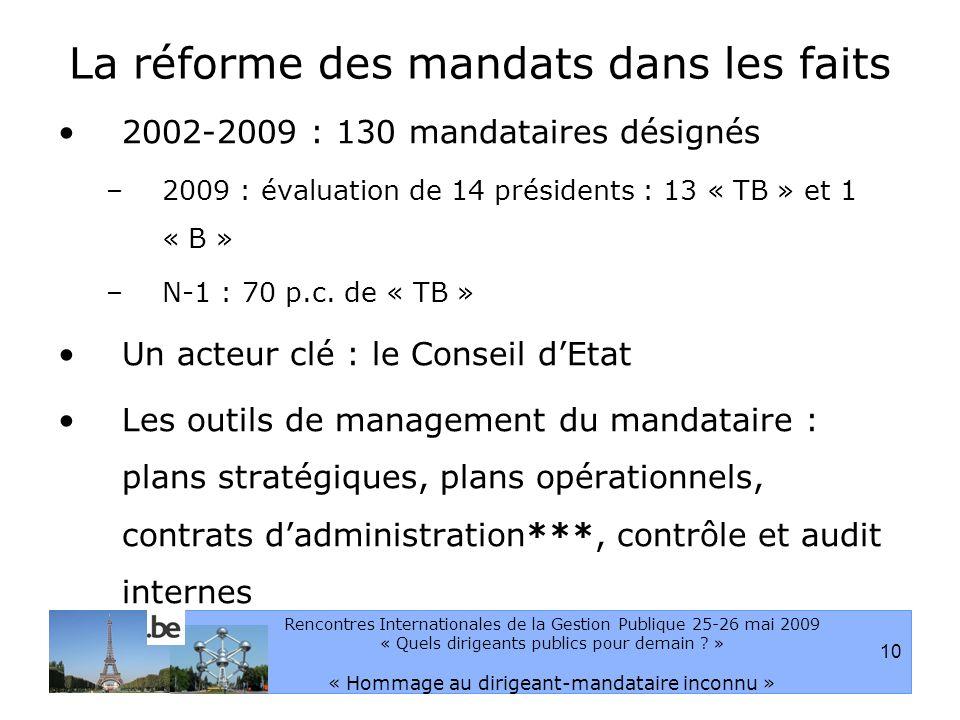 10 Rencontres Internationales de la Gestion Publique 25-26 mai 2009 « Quels dirigeants publics pour demain .