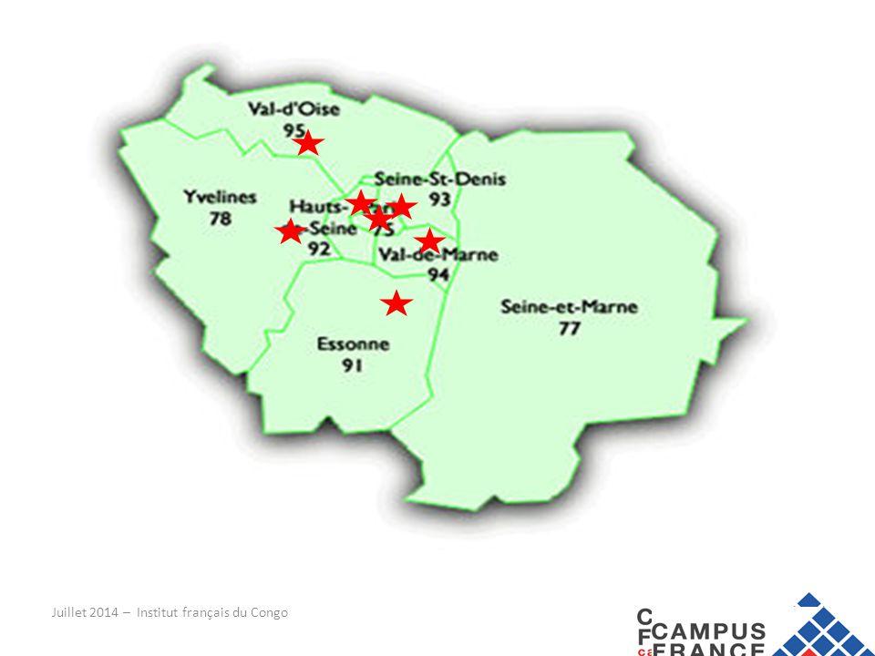 Avant le départ … BUDGET : 750€ (500000CFA) Paris 650€ (425000 CFA) Province Juillet 2014 – Institut français du Congo Dépenses mensuellesParisProvince Loyer (hors aides au logement) En cité universitaire minimum 200€/mois En studio en location 450- 750€/mois En cité universitaire minimum 200€/mois En studio en location 400€/mois Assurance habitation du logement 10€/mois Transport60-80€/mois40-60€/mois Sécurité sociale15€/mois Nourriture150-200€/mois Loisirs90€/mois70€/mois Divers (EDF, GDF…)80€/mois60€/mois