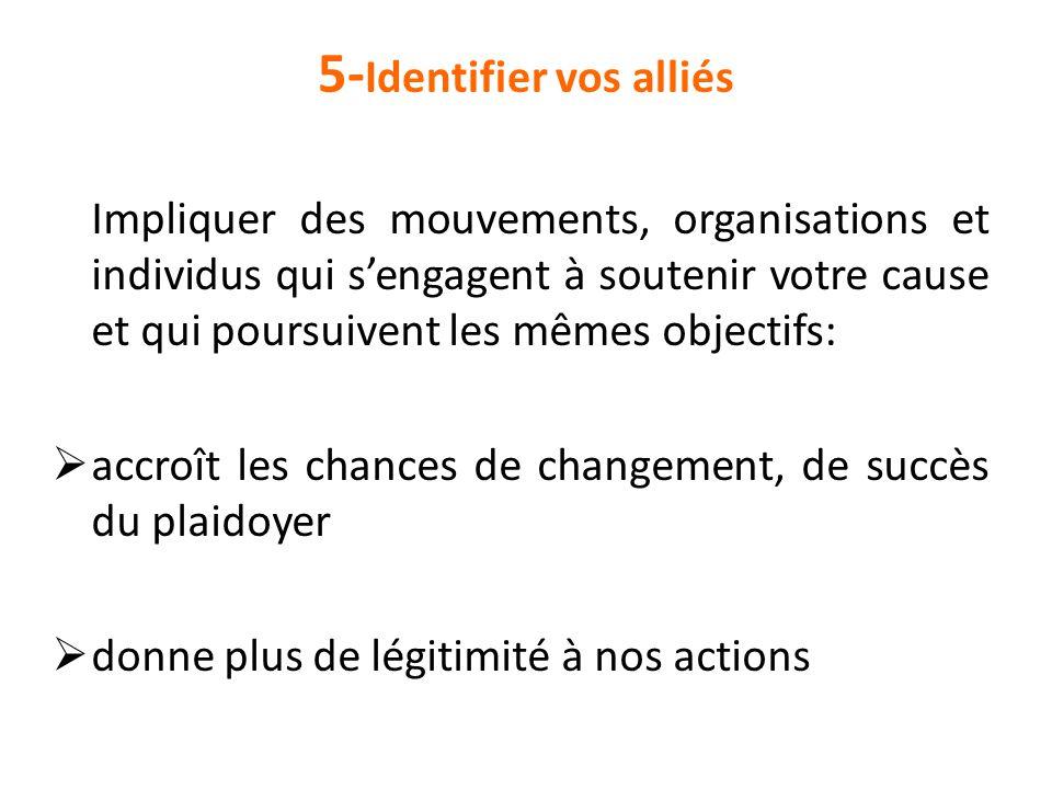5- Identifier vos alliés Impliquer des mouvements, organisations et individus qui s'engagent à soutenir votre cause et qui poursuivent les mêmes objec