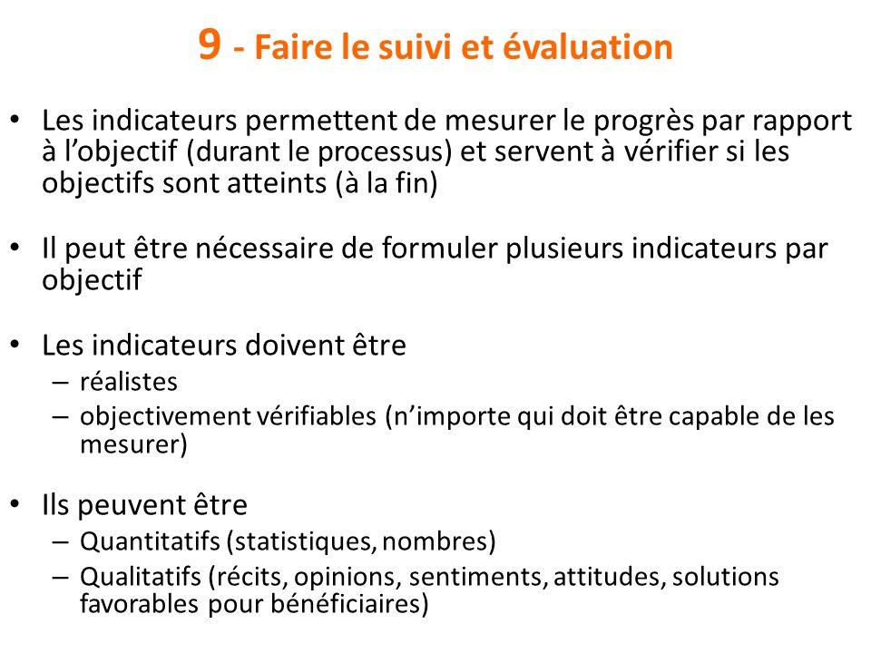 9 - Faire le suivi et évaluation Les indicateurs permettent de mesurer le progrès par rapport à l'objectif (durant le processus) et servent à vérifier