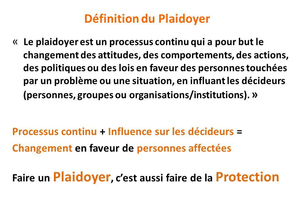 Définition du Plaidoyer « Le plaidoyer est un processus continu qui a pour but le changement des attitudes, des comportements, des actions, des politi