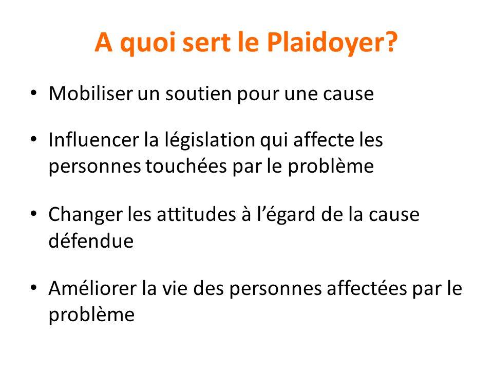 A quoi sert le Plaidoyer? Mobiliser un soutien pour une cause Influencer la législation qui affecte les personnes touchées par le problème Changer les