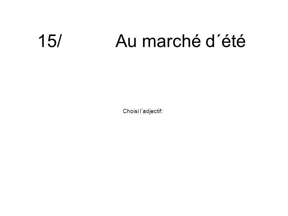 15/ Au marché d´été Choisi l´adjectif: