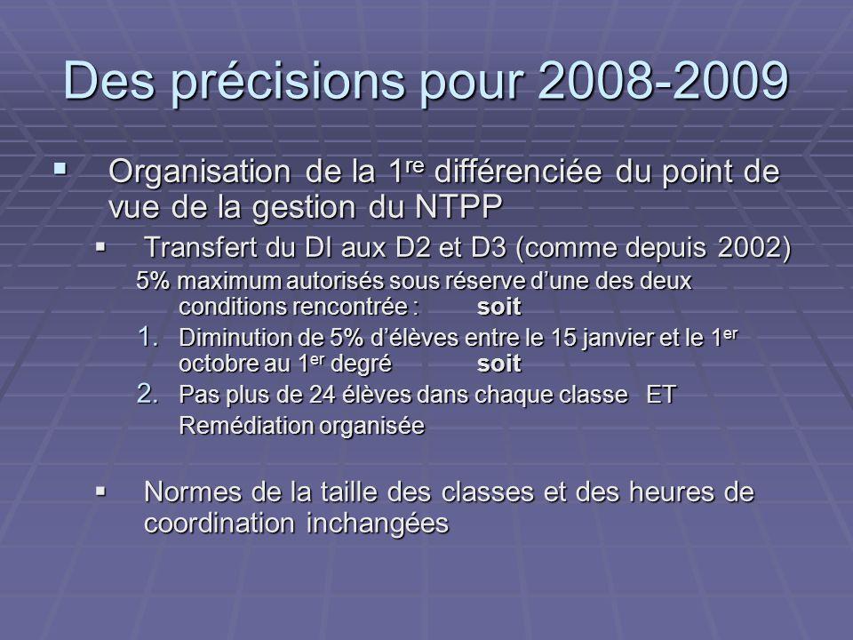 Des précisions pour 2008-2009  Organisation de la 1 re différenciée du point de vue de la gestion du NTPP  Transfert du DI aux D2 et D3 (comme depuis 2002) 5% maximum autorisés sous réserve d'une des deux conditions rencontrée : soit 1.