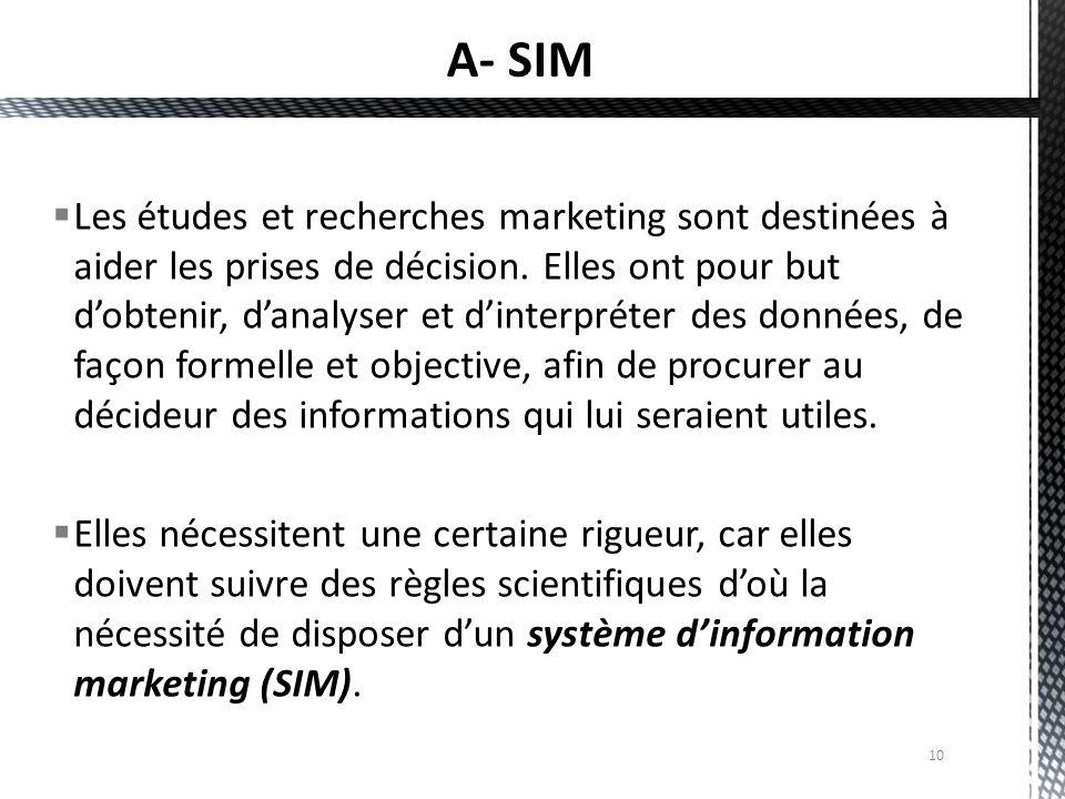 10  Les études et recherches marketing sont destinées à aider les prises de décision. Elles ont pour but d'obtenir, d'analyser et d'interpréter des d