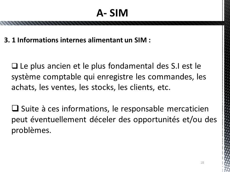 18  Le plus ancien et le plus fondamental des S.I est le système comptable qui enregistre les commandes, les achats, les ventes, les stocks, les clie