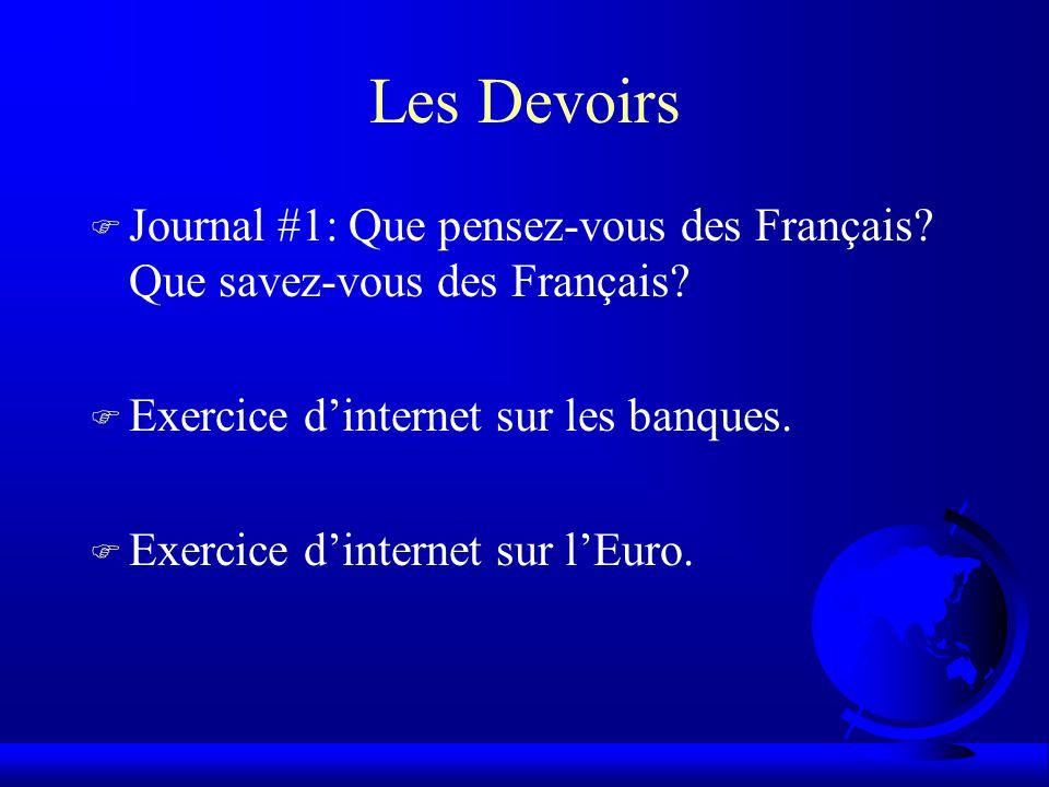 Les Devoirs F Journal #1: Que pensez-vous des Français.