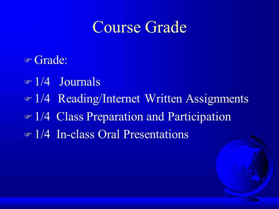 Course Grade F Grade: F 1/4 Journals F 1/4 Reading/Internet Written Assignments F 1/4 Class Preparation and Participation F 1/4 In-class Oral Presentations